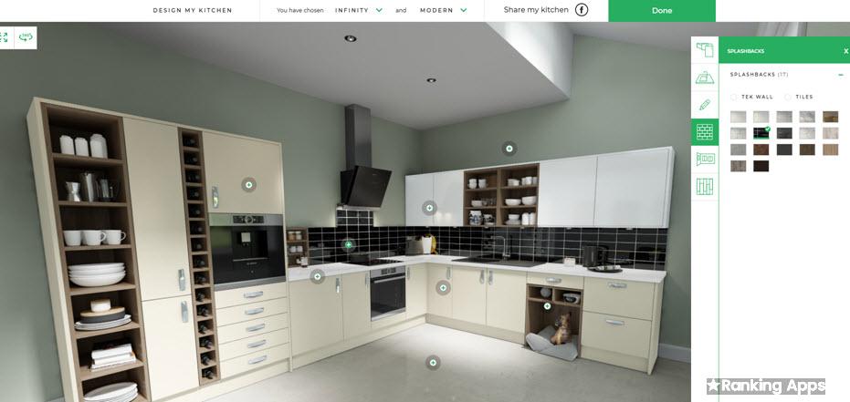 Design My Kitchen, sencilla app cambia pisos y colores de paredes, estilos de cocina