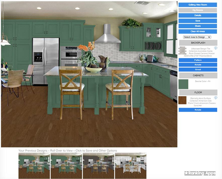 Floors and kitchens, app cambia colores a gabinetes y tipos de pisos, aplicación fácil de usar