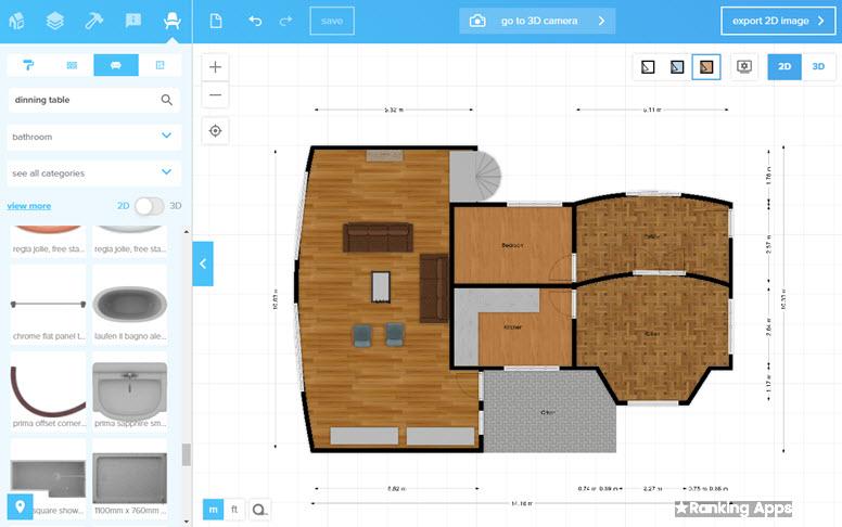 FloorPlanner diseña planos de casas desde el navegador web Chrome, firefox, Edge