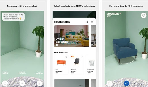 Ikea Place aplicación de realidad aumentada para diseño de interiores elección de muebles