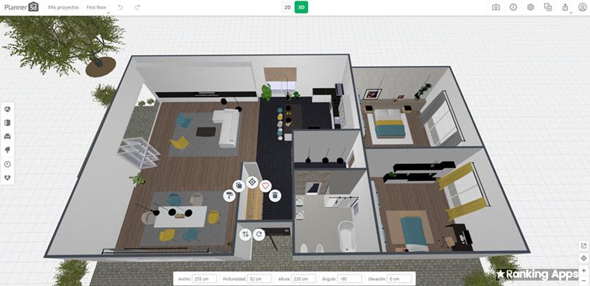 Planner 5D diseña planos de casas en 2D y 3D, pon pisos, pinta paredes, coloca muebles con calidad de visualización
