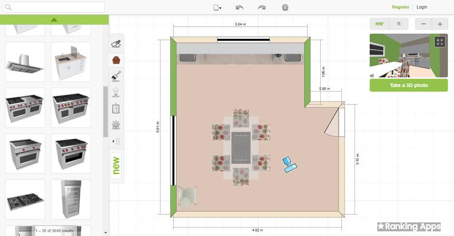 Room Styler, intuitiva aplicación para hacer planos del interior de la casa. equipa la cocina con muebles