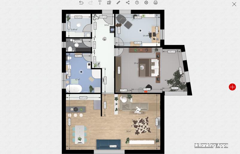 Roomle es una webapp y aplicación para iphone y ipad para dibujar planos de casas