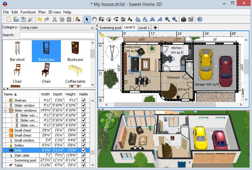 SweetHome 3D se descargar gratis para Windows  MacOs, funciona también con navegadores web