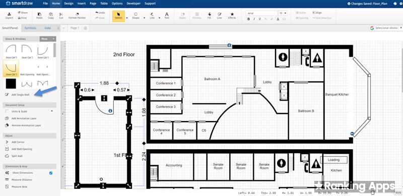 Smartdraw aplicación para hacer croquis de planos y señalizaciones, diagramas y organigramas