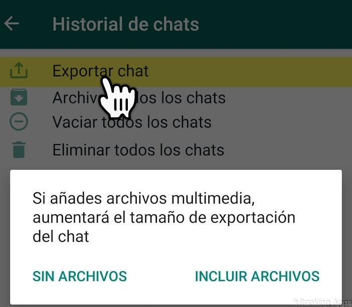 Enviar conversaciones de WhatsApp por correo electrónico eligiendo los archivos de video, audio y documentos
