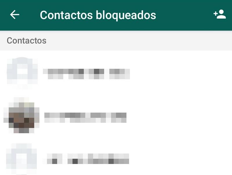 Lista de contactos bloqueados de WhatsApp