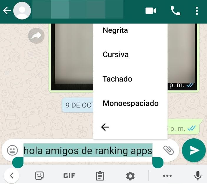 Personalizar mensajes de WhatsApp con letras negrita, cursiva, tachado y monoespaciado