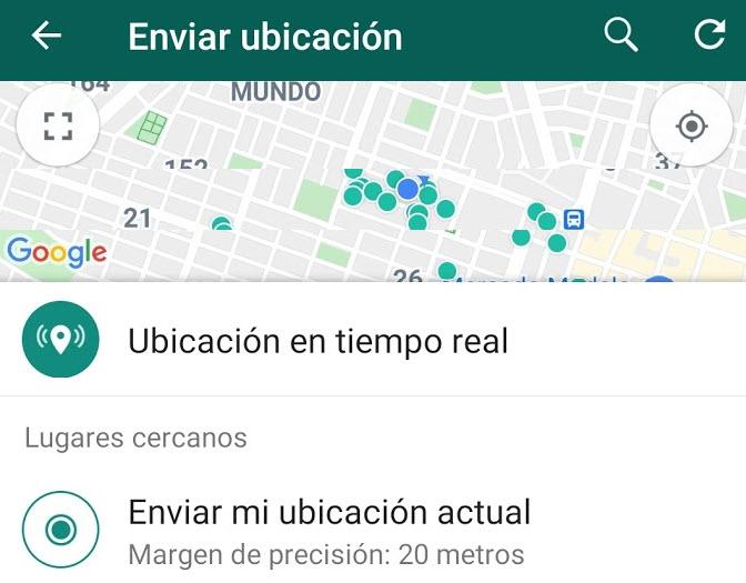 Ubicación en tiempo real por WhatsApp, enviar a tus contactos un mapa