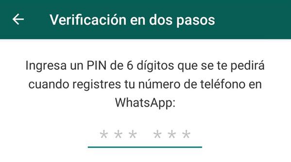 Seguridad en Whatsapp con la verificación de dos pasos
