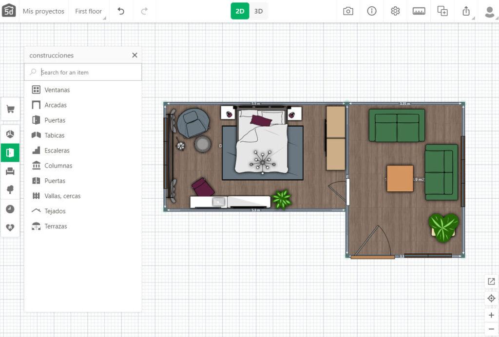 Dibujo de plano y decoración de casa con app Planner 5D