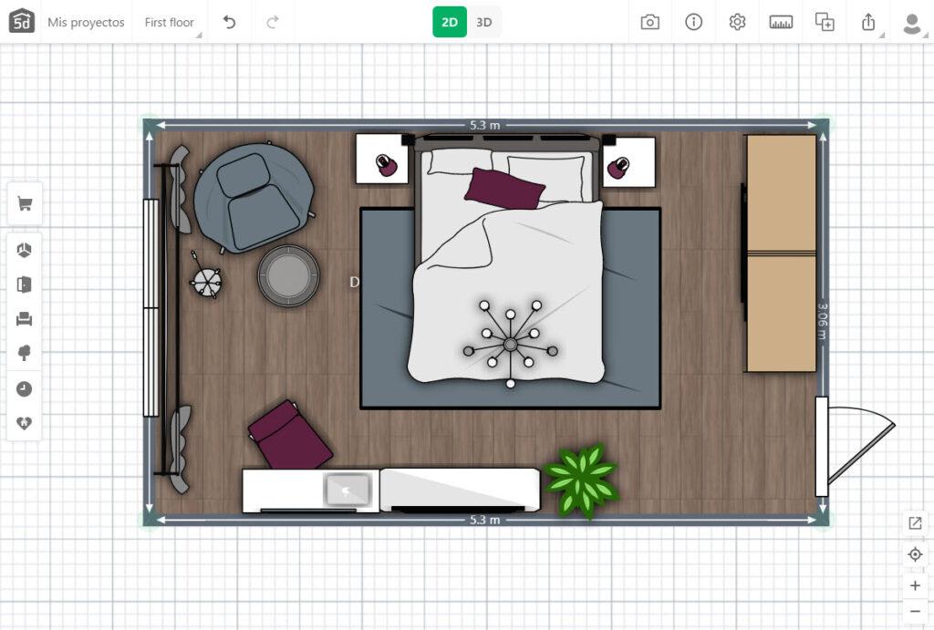 Plano 2D de dormitorio equipado