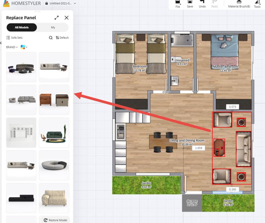 Cambiar muebles y equipamiento con HomeStyler