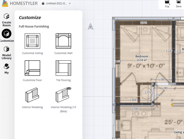 Personalización de pisos, paredes y techos con HomeStyler